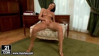 Petite masturbation scene with seductive lonely curve Sybilla