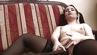 Pigtailed Horny Teen Masturabating Pussy Insertion