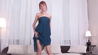 Beautiful Esperanse fucks herself with a red jelly dildo