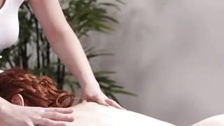 Big tits Veronica walks inside the massage room for a massage