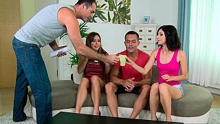 Naughty babes on a wild group sex party