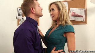 Office babe Brandi Love fucks her manager to keep her job
