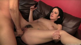 Fabulous brunette Katie St Ives works on the long dick of Scott Lyons