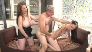 Angelina Black rides cock in threesome action
