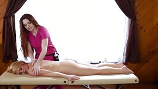 Blonde Abby Cross wants a massage and Veronica preps her with a rub