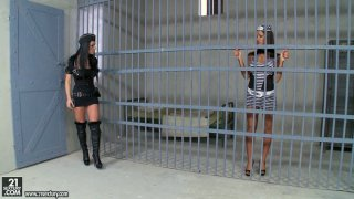 Dirty lesbian sex in the prison with sultry police officer Honey Demon