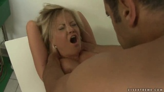 Sunny Diamond is bound to the hardness of the penis