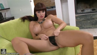 Busty brunette Aletta Ocean plays with her toys