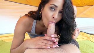 Beautiful Latina Abby Lee Brazil sucks her man off on camping trip