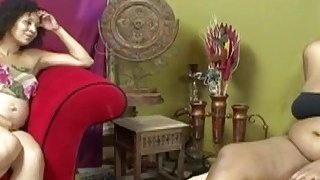 Pregnant ebony lesbos use toy and fingers to please