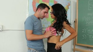 Slutty student Cassandra Cruz desires to win her teacher's cock