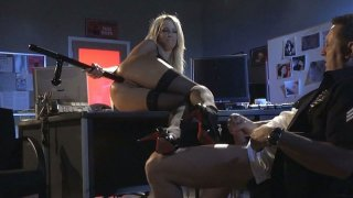 Cop rams pussy and asshole of Jessica Drake in the police station