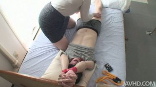 Fluffy mature asian woman Rika Shibuki gets nasty with bounded dude