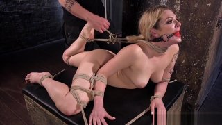 Gagged Blonde In Extreme Rope Bondage
