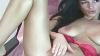 Horny Brunette gets her pussy soaking with a toy