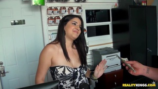 Candy boasts of her natural boobs to Jmac in the storeroom of the shop