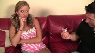Cute and hot blondie Mae Meyers plugs John Strong's cock into her mouth