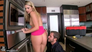 Naughty blonde babe Samantha Ryan blows dick and bends over in the kitchen