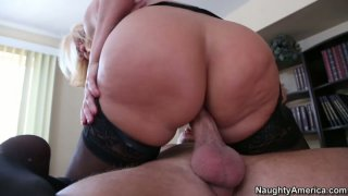 Sluttish cougar boss Mellanie Monroe fucks her young subordinate right in the office