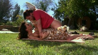Lisa Ann fucks doggy and missionary styles outside on the lawn